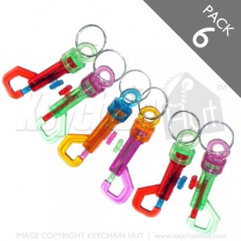 Multicolor Belt Clip Keychain - Pack 6