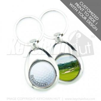 Printed Metal Golf Promotional Keychain