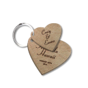 Laser engraved Wooden Heart Keychain